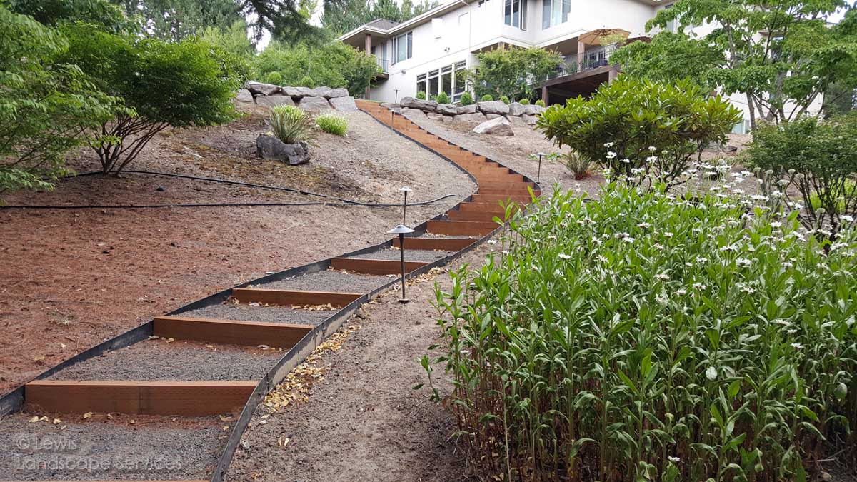 Timber Steps w/ Steel Edging & Gravel Treads