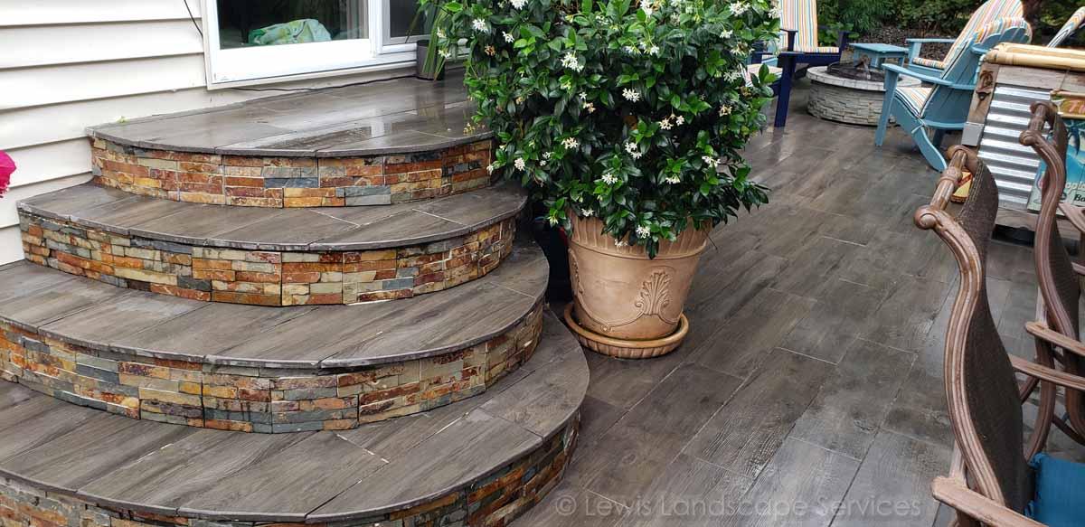 Paver Steps w/ Porcelain Pavers & Stone Veneer
