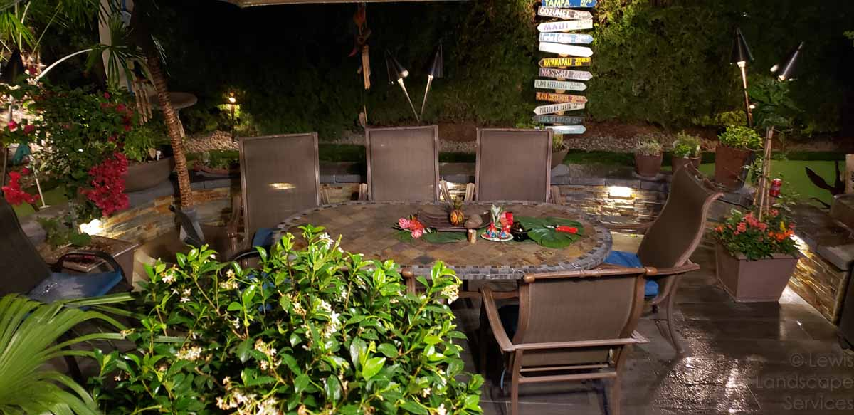 Main Section of Patio at Night Time