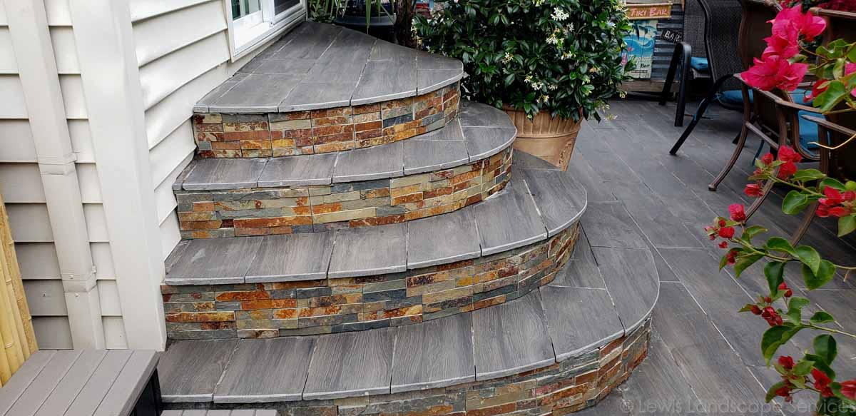 Pave Steps with Porcelain Pavers & Stone Veneer