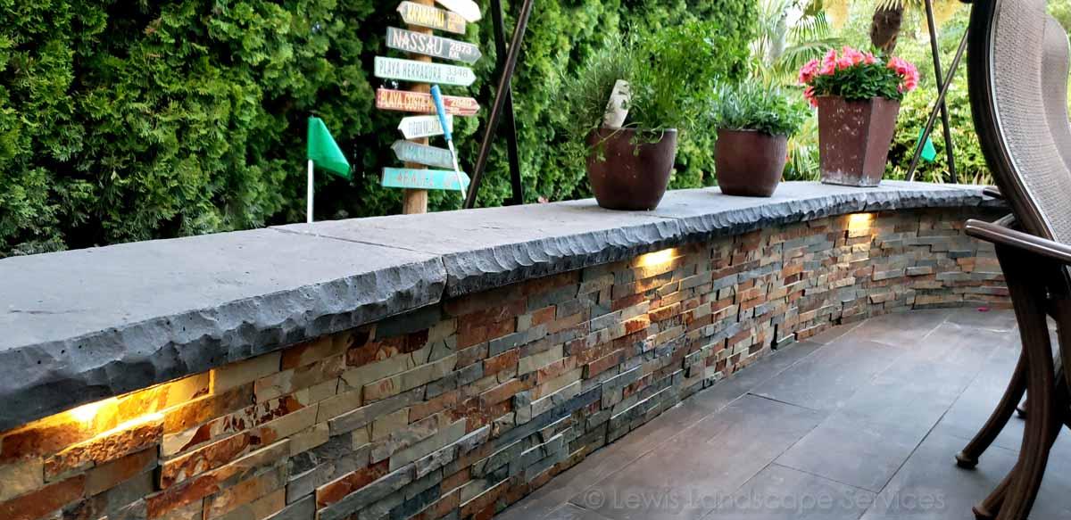 Stone Veneer Seat Wall & Lighting