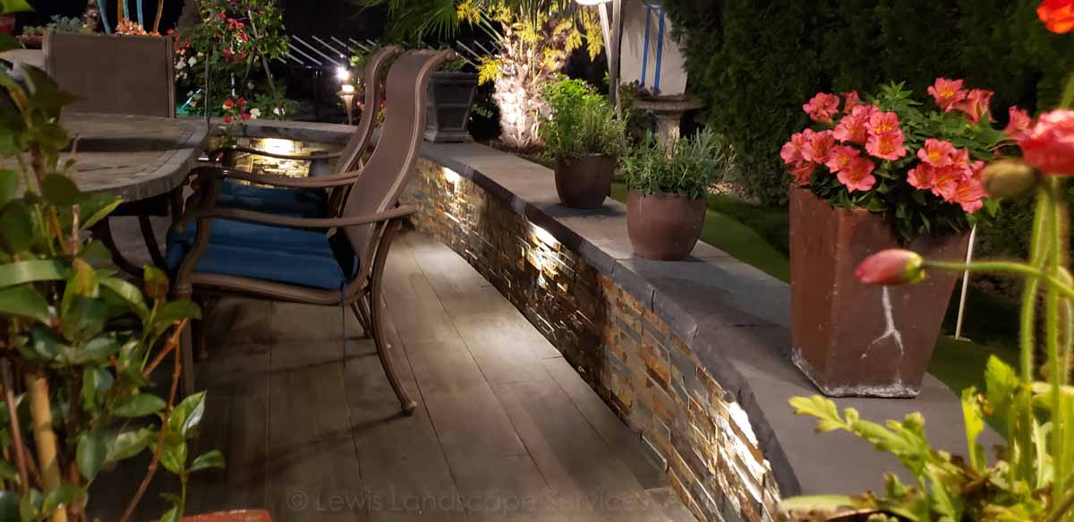 Patio & Stone Seat Wall, with Night Lighting