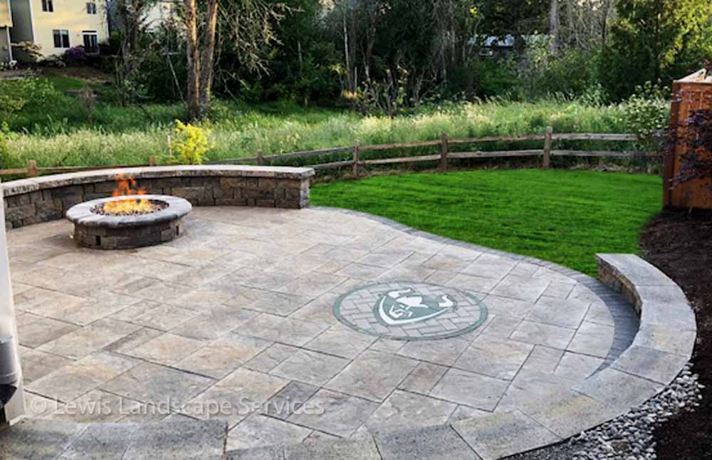 Paver Patio, Seat Wall, Fire Pit, Custom Made Paver Art
