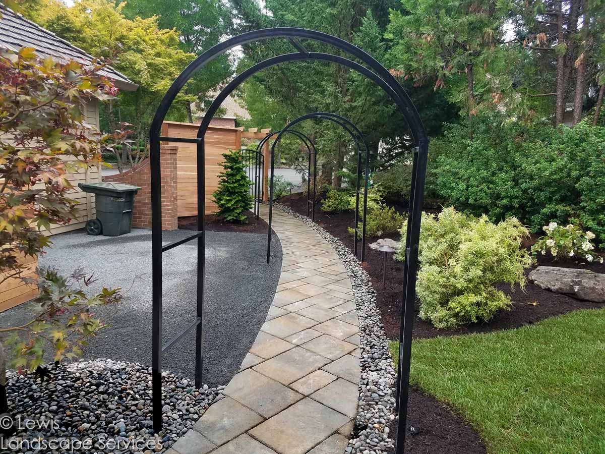 Paver Pathway, French Drain, Iron Arbors