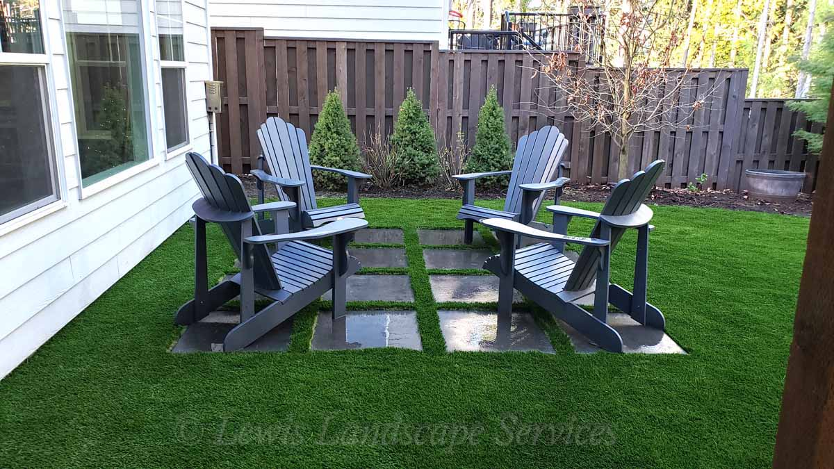 Synthetic Turf & Small Paver Patio Installation