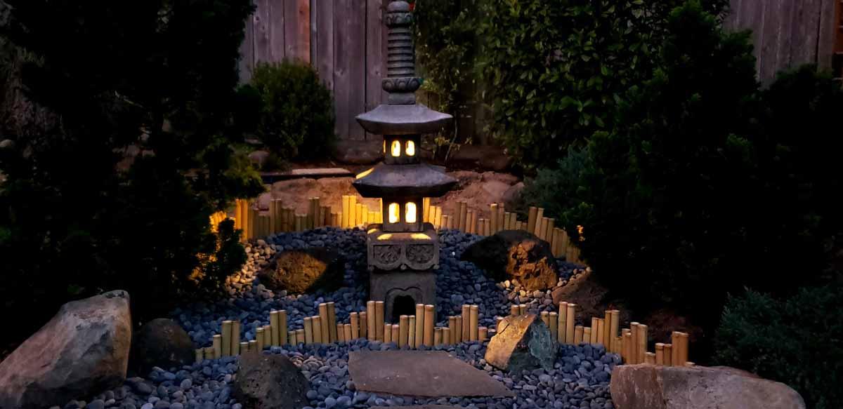 Custom Lighting Installation within Pagoda Statue at this customer's home in Beaverton