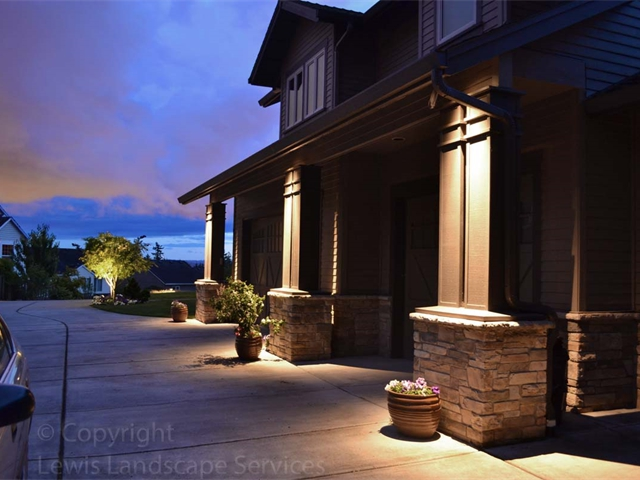 Down Ligting Columns on Home Using LED Outdoor Lighting at a customer's home in Portland