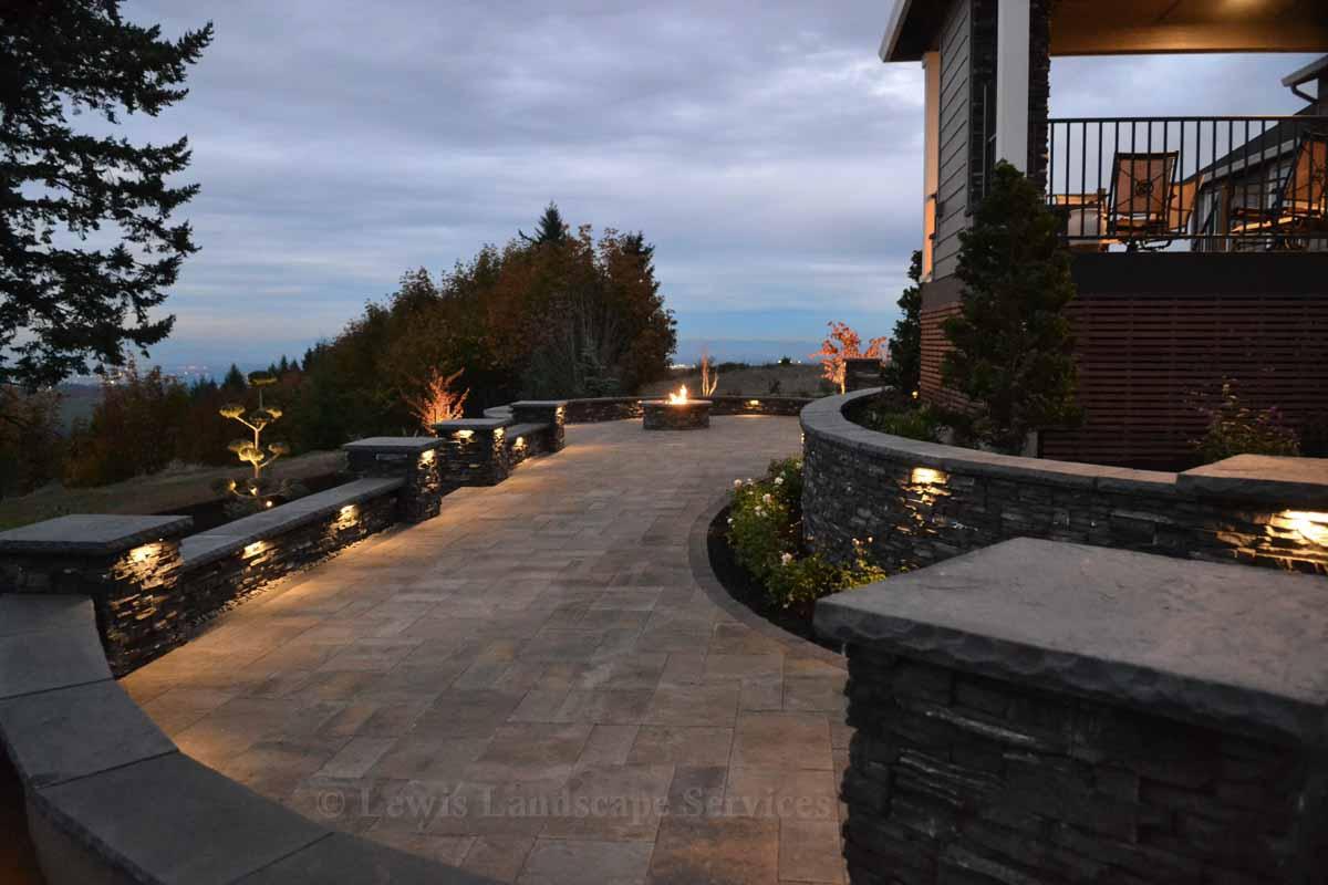 Lighting Fixtures Built Into Seat Walls & Columns in Landscape We Installed in Hillsboro, OR