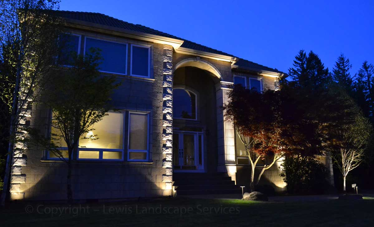 Uplighting Columns on Home at a Project we did in Portland, Oregon