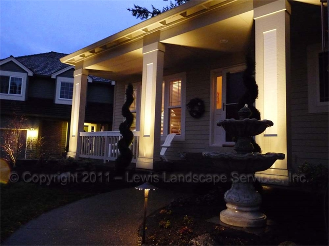 Uplighting Columns on Home at a Project we did in Tualatin, Oregon