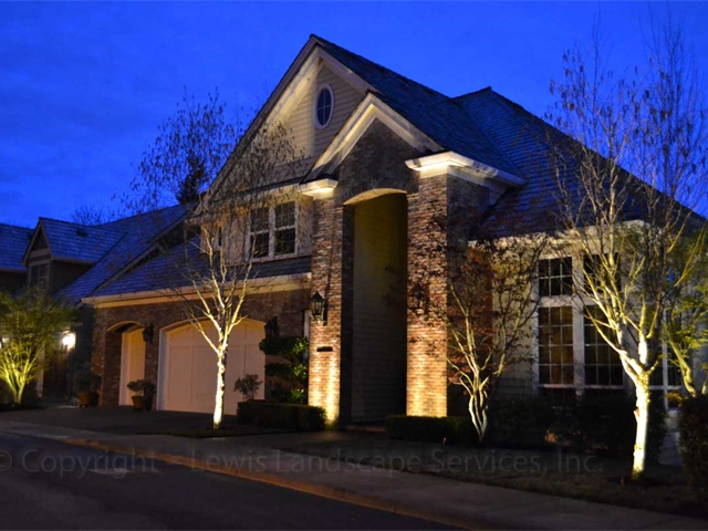 Uplighting Columns & Tree Uplighting at a Project we did in Skyline Area, Portland