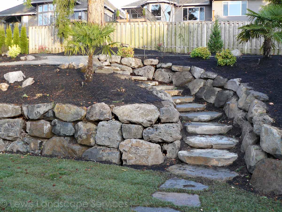 Basalt Boulder Rock Walls & Rock Slab Steps