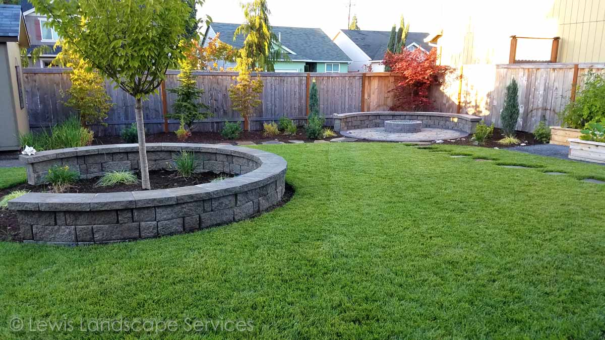 Fire Pit, Walls, Sod Lawn, Planting, More....
