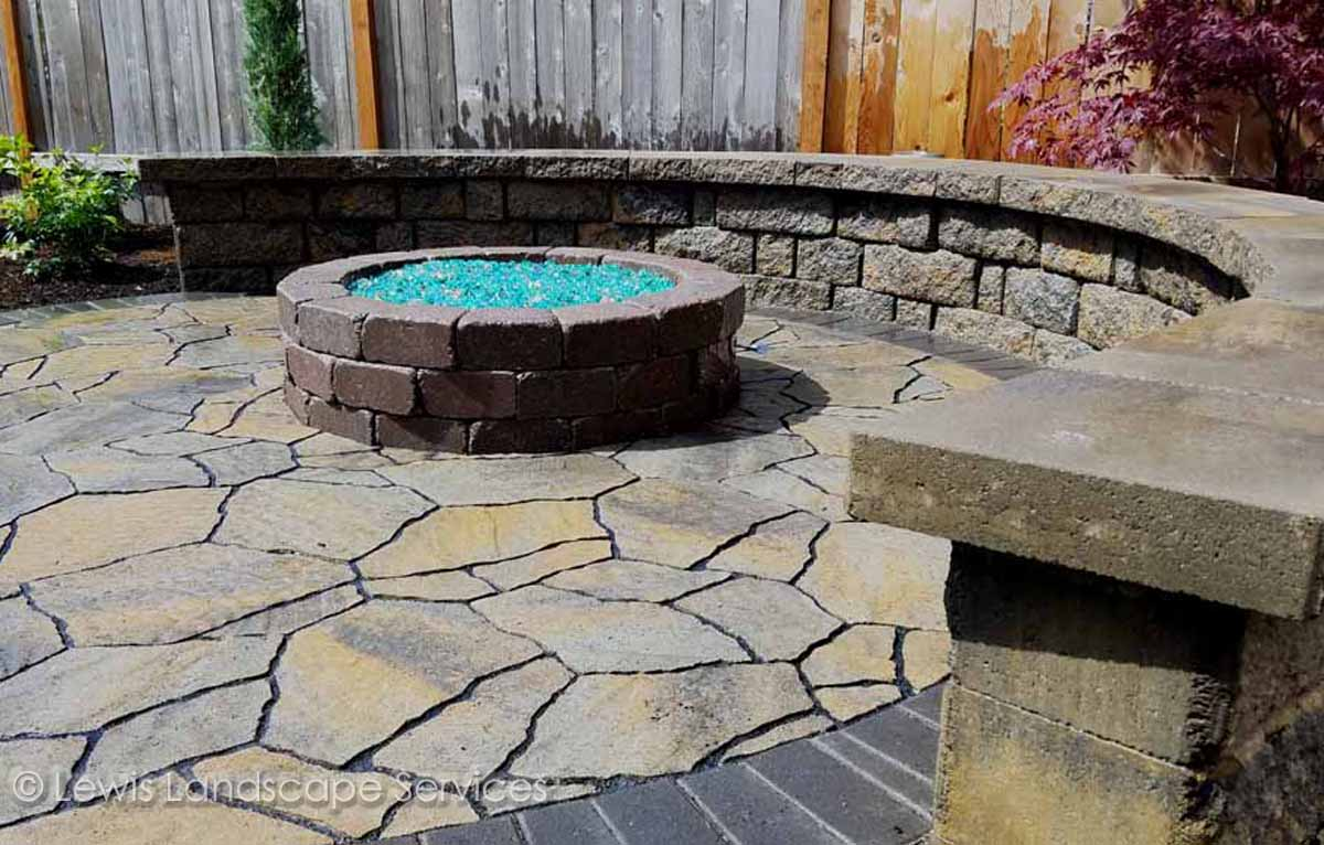 Paver Patio, Seat Wall, Gas Fire Pit w/ Fire Glass