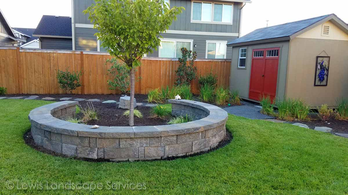 Seat Wall, Sod Lawn, Planting, Pathway