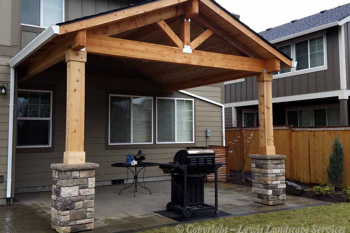 Covered Structure Above Paver Patio, Stone Columns