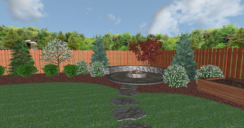 Landscape Design Plan 3D Rendering