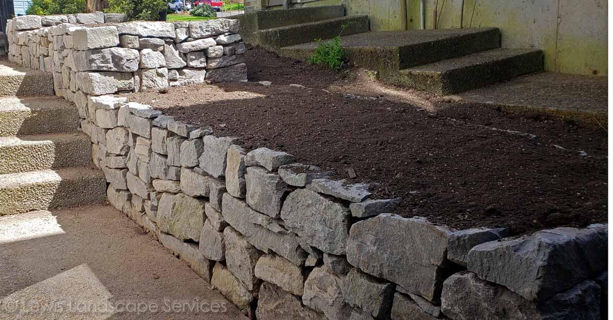 Basalt Dry-Stack Rock Raised Planters / Walls