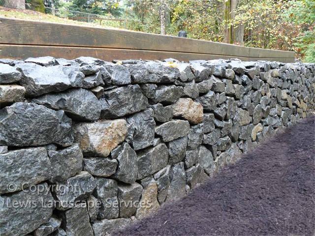 Basalt Dry-Stack Rock Wall using Black Basalt