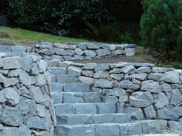 Terraced Basalt Dry-Stack Rock Wall w/ Basalt Curb Stone Steps