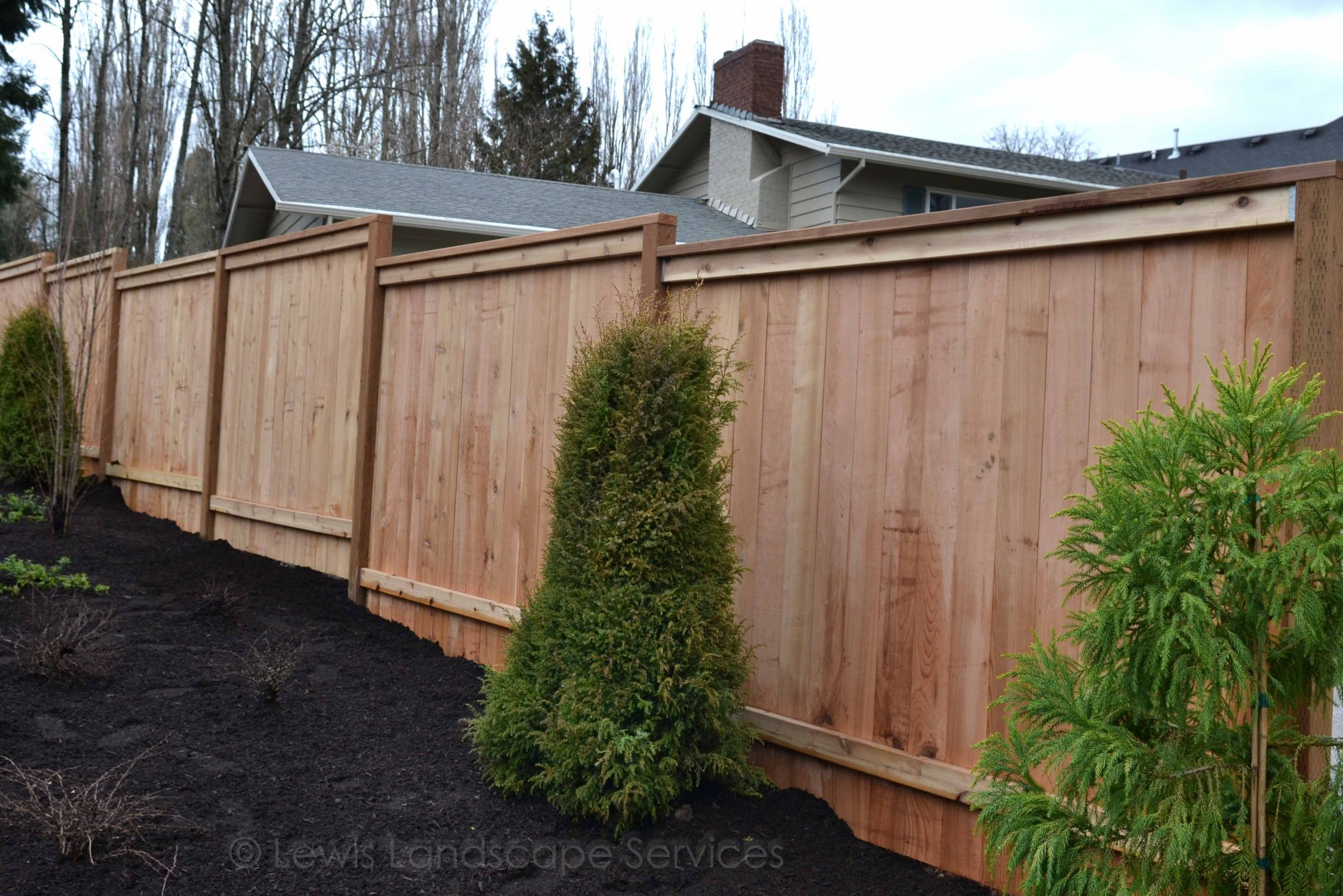 Picture Frame Style Cedar Fence instllation at one of our Portland, Oregon Fence Installations