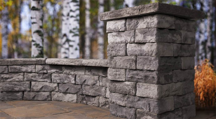 Seat Wall made with Dimensional Wall Block by Rosetta Hardscapes