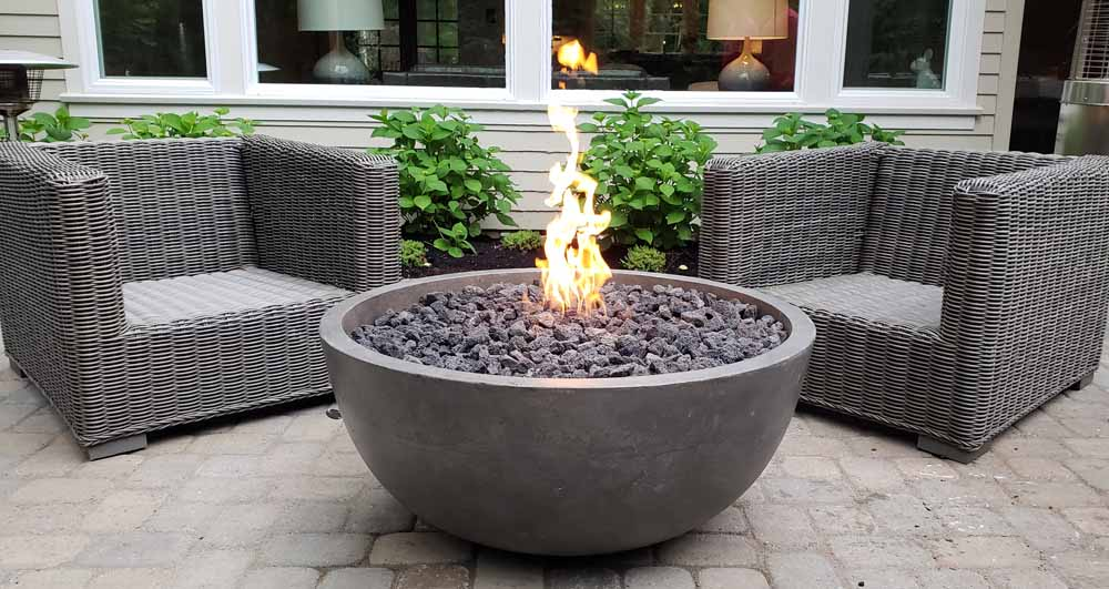 Concrete Fire Bowl We Installed in Lake Oswego (Gas)