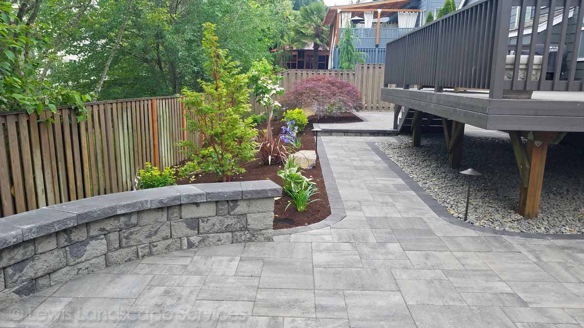 New Paver Patio, Pathway, Seat Wall & Landscape