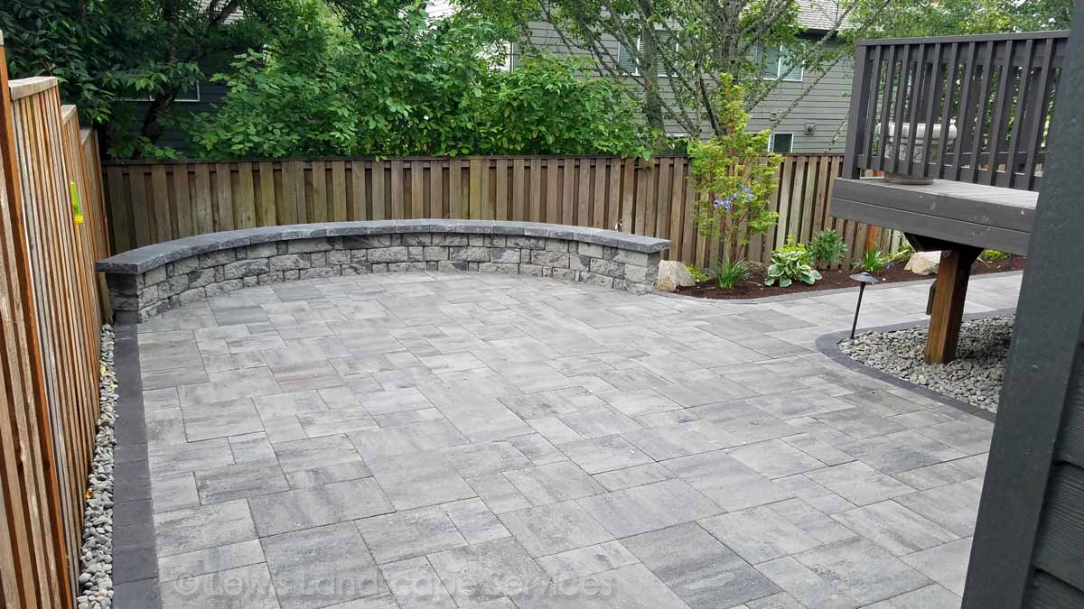 New Paver Patio, Seat Wall Pathway & Landscape