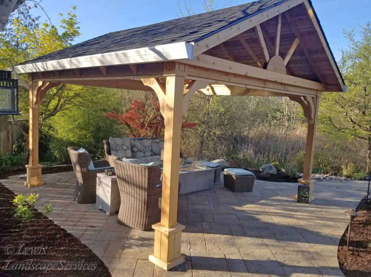 Stand Alone Covered Structure - Open Gable, Paver Patio, Fire Table