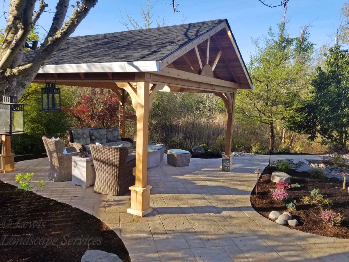 Stand Alone Covered Structure - Open Gable, Paver Patio, Paver Pathways, New Plants & Trees, Outdoor Lighting