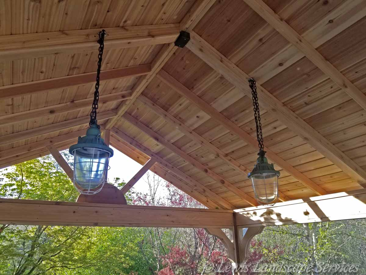 Ceiling and Lighting Inside Covered Timber Structure