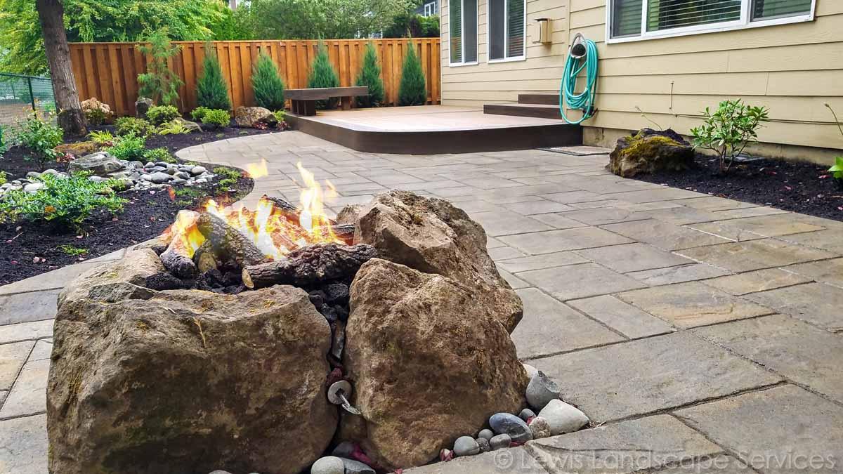 Gas Fire Pit, Paver Patio, TimberTech Deck, Bubbler Fountain, Landscaping