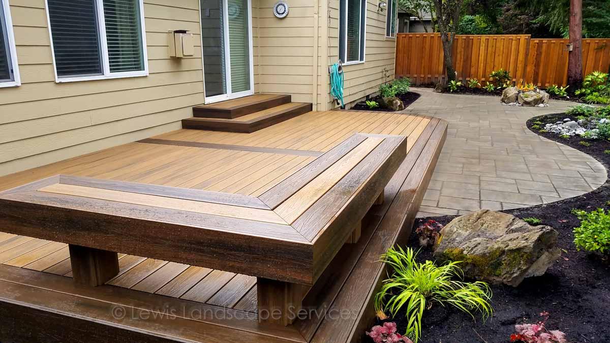 TimberTech Deck, Paver Patio, Bubbler Fountain, Fire Pit, Landscaping