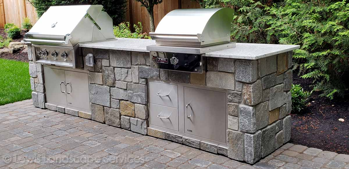 Closeup of Back Yard BBQ Grill / Outdoor Kitchen
