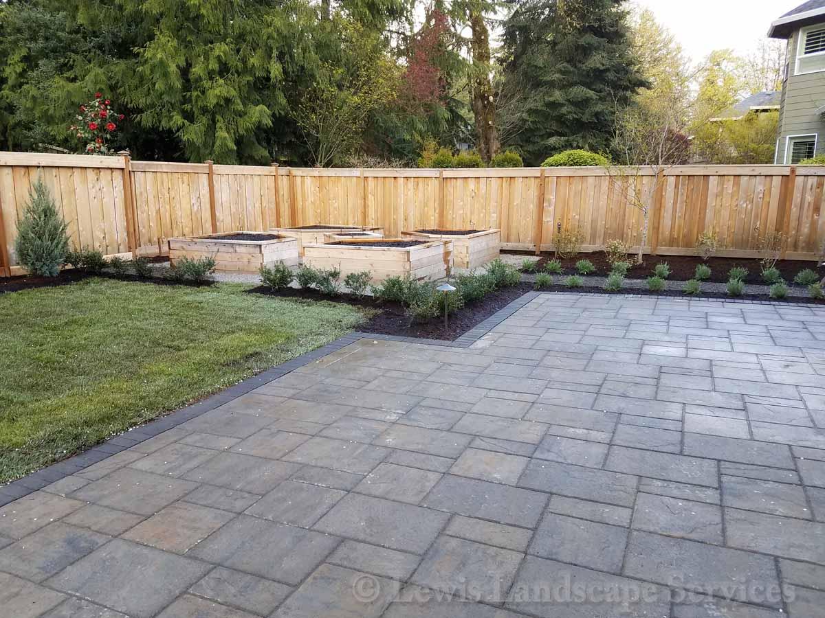 Paver Patio, Planting, Raised Garden Beds