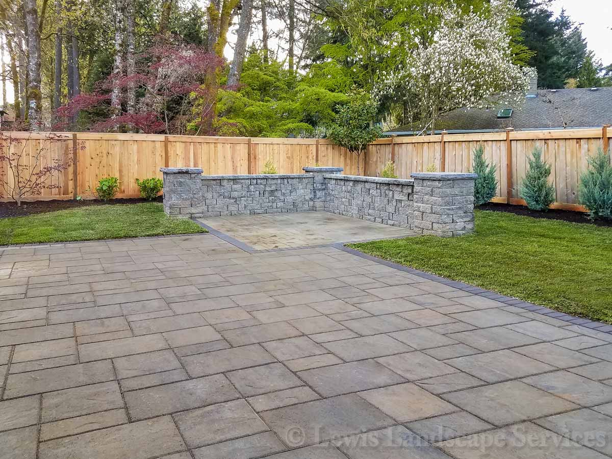 Paver Patio, Seat Wall, New Sod Lawn, Planting