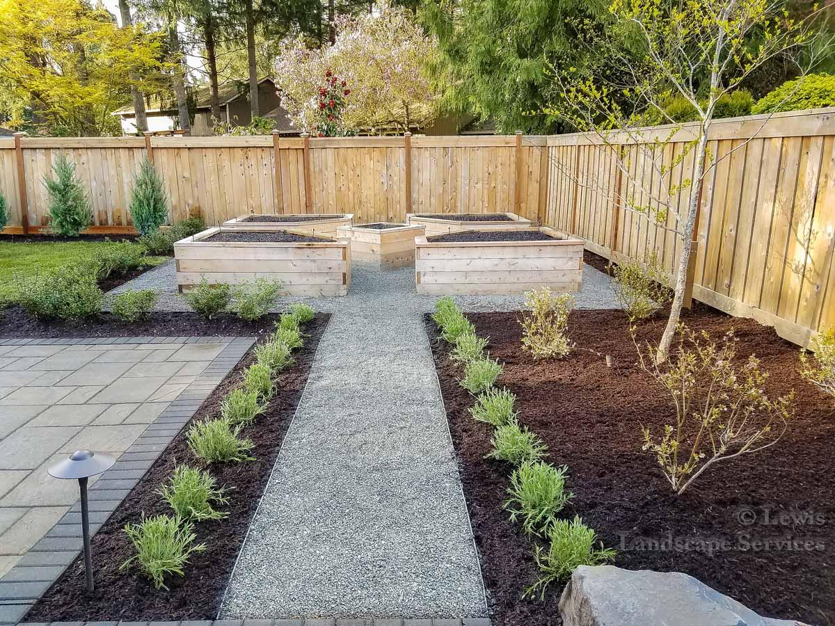 Custom Made Raised Garden Beds, Gravel Pathway, Planting