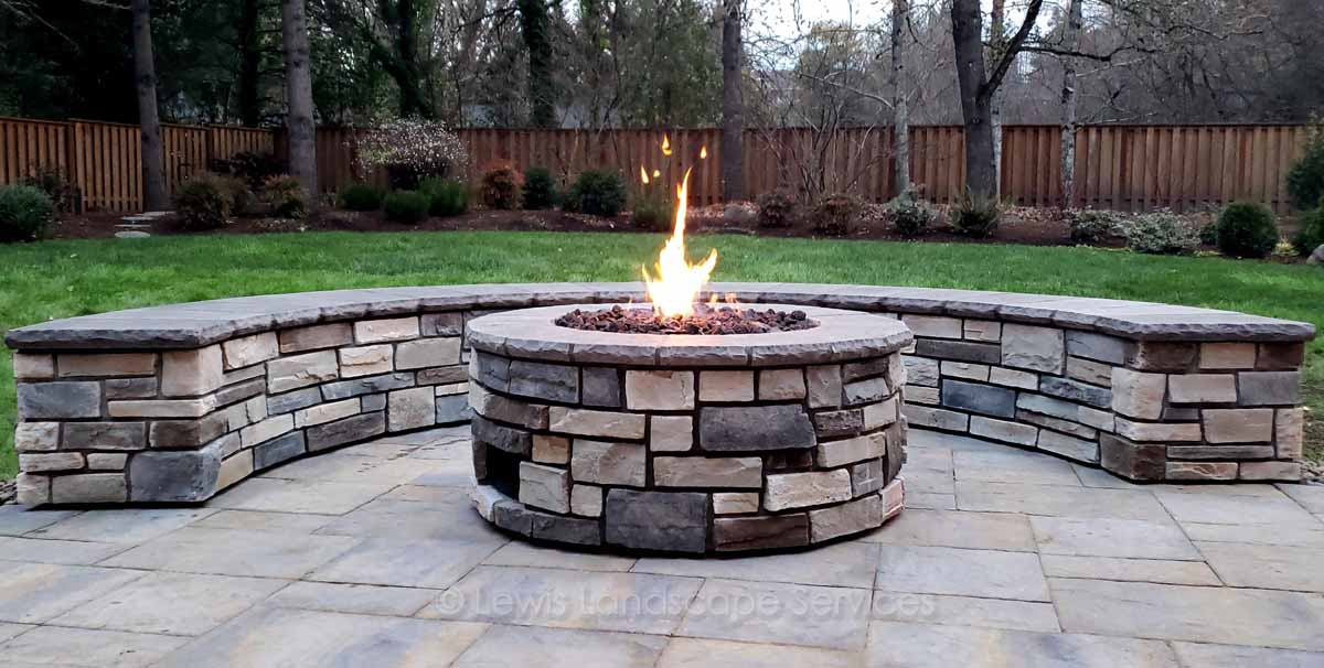 Close-up of Paver Patio, Fire Pit & Seat Wall