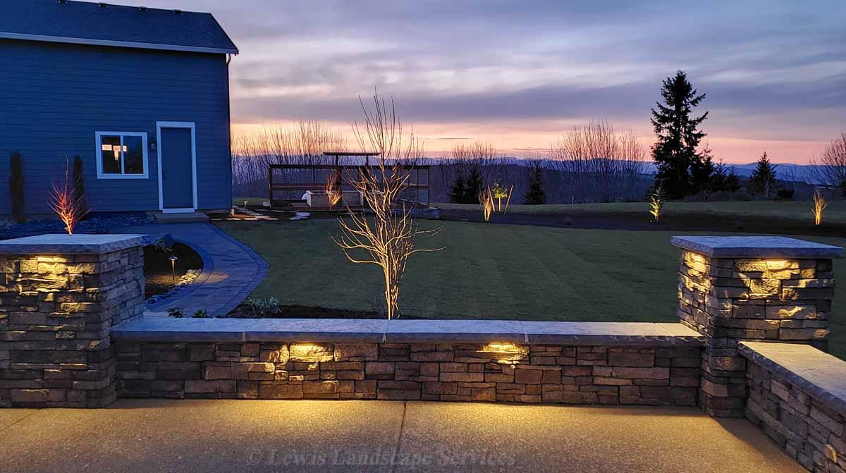 Seat Wall, Night Lighting, Sod Lawn, Planting, Paver Pathways, Garden