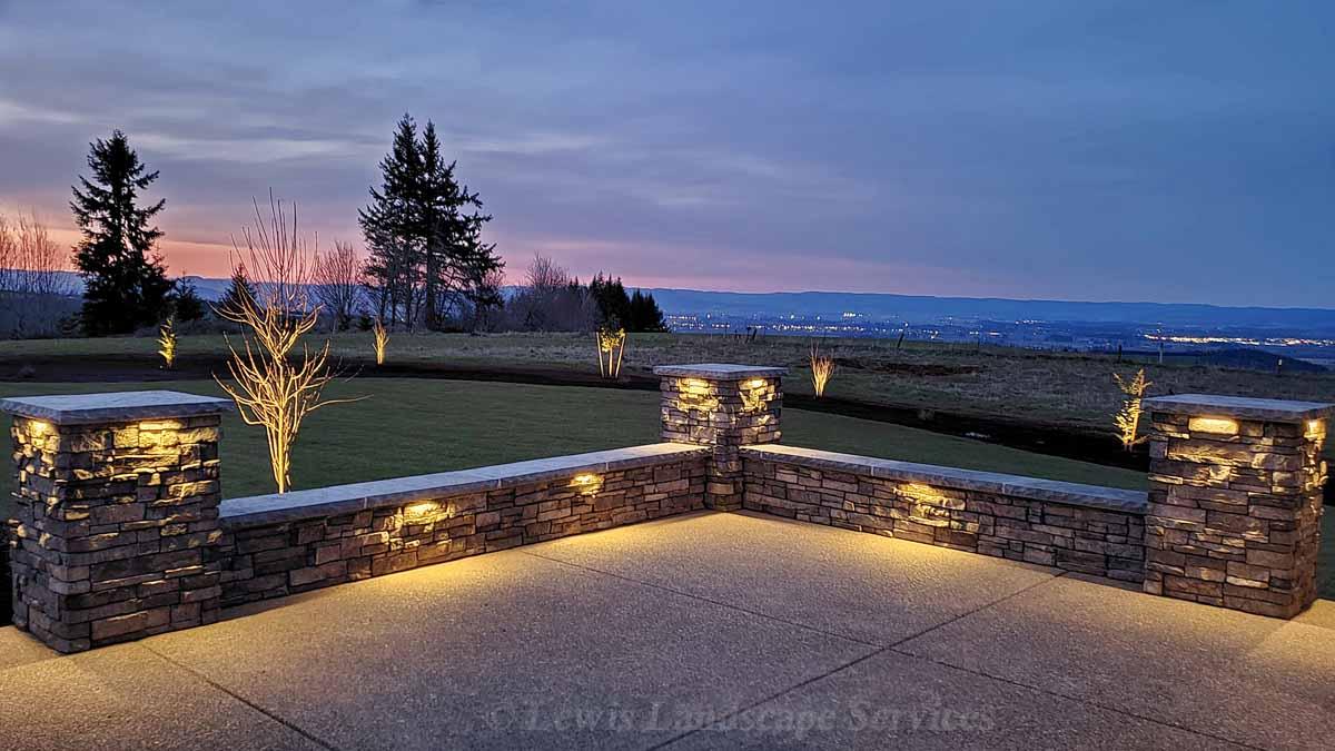 Stone Veneer Seat Wall w/ Built In Night Lighting