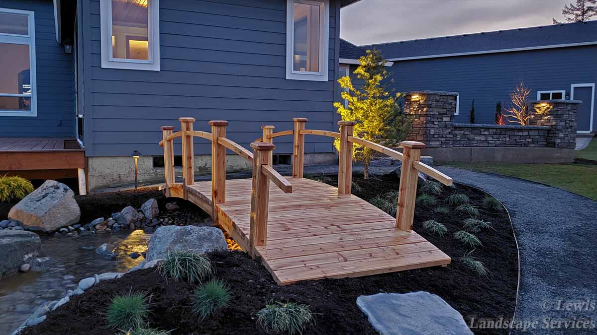 Brodge at Top of Waterfall, Planting, Walls, Outdoor Lighting, Plathways