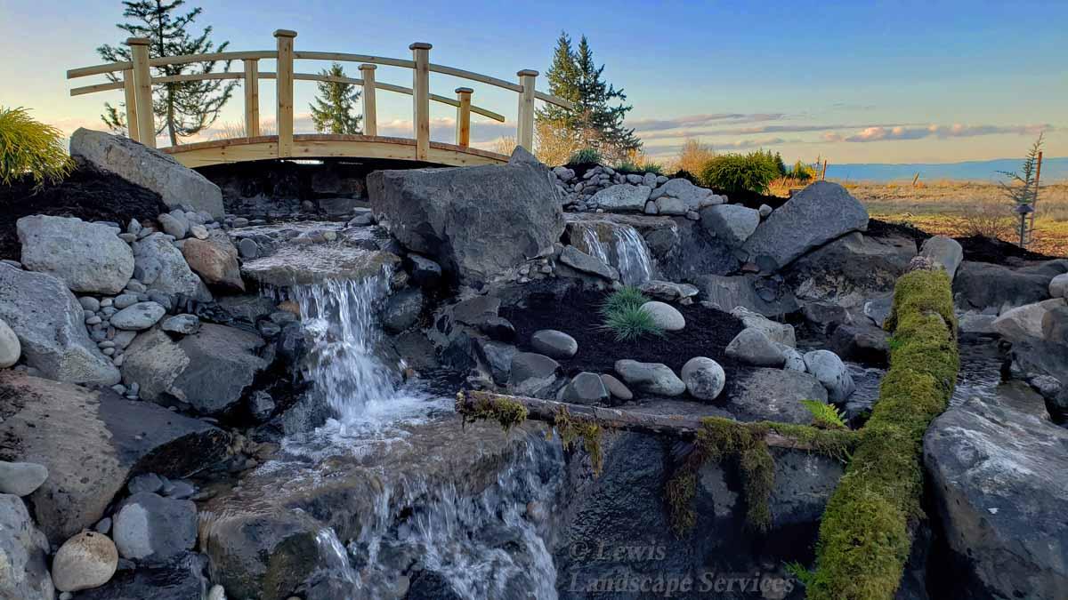 Bridge at Top of Waterfall, Planting, Detail Inside Waterfalls Area
