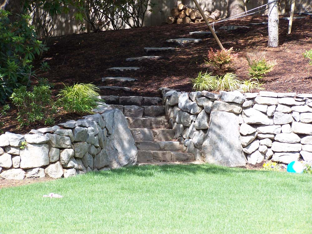 Basalt Dry Stack Rock Wall & Basalt Curb Stone Steps