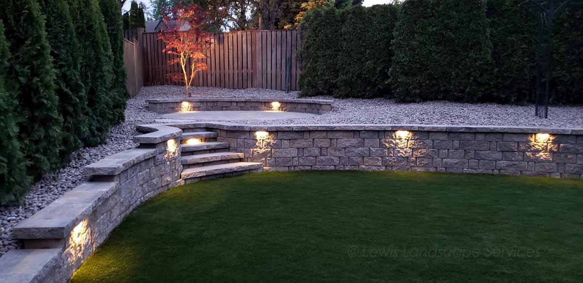 Segmental Retaining Wall & Lighting