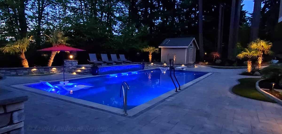 Tree Uplighting, Pathway Lights, Hardscape Lights, Post Lights & Pool Lighting from one of our Installations in Beaverton