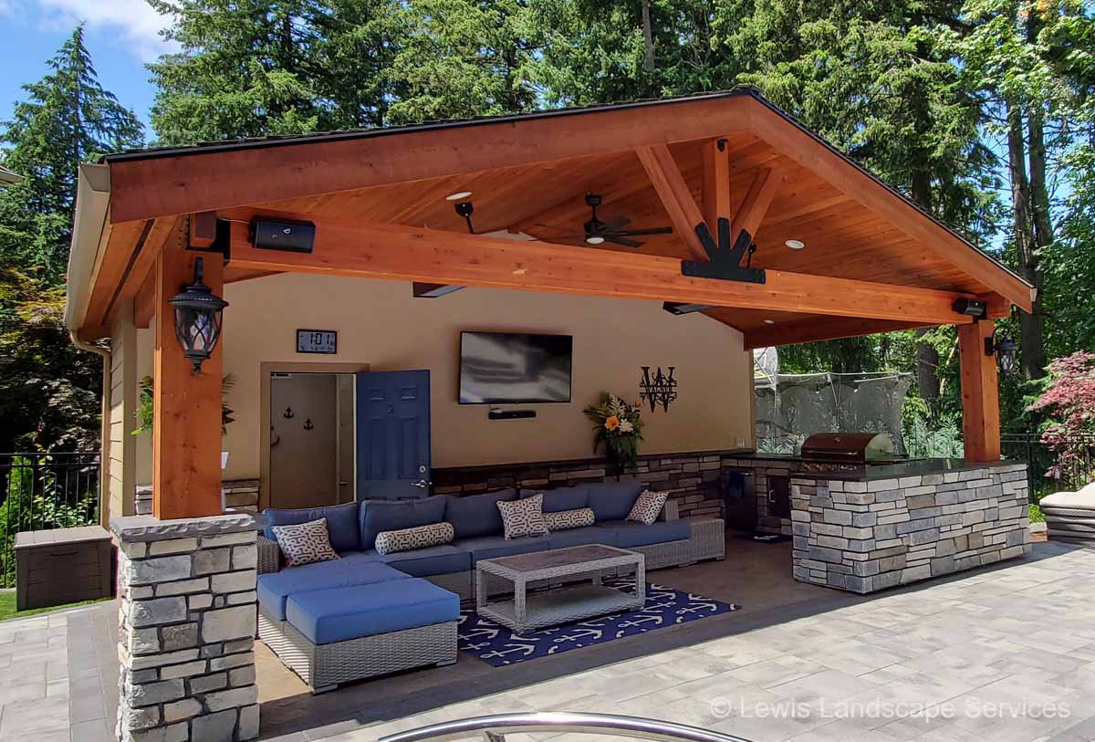 Outdoor Living Areas with Covered Structures, Outdoor Kitchens & More!