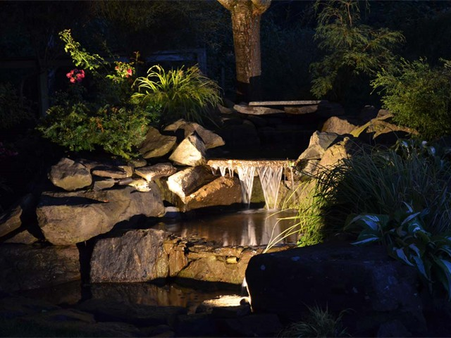 Waterfalls with Accent Lighting