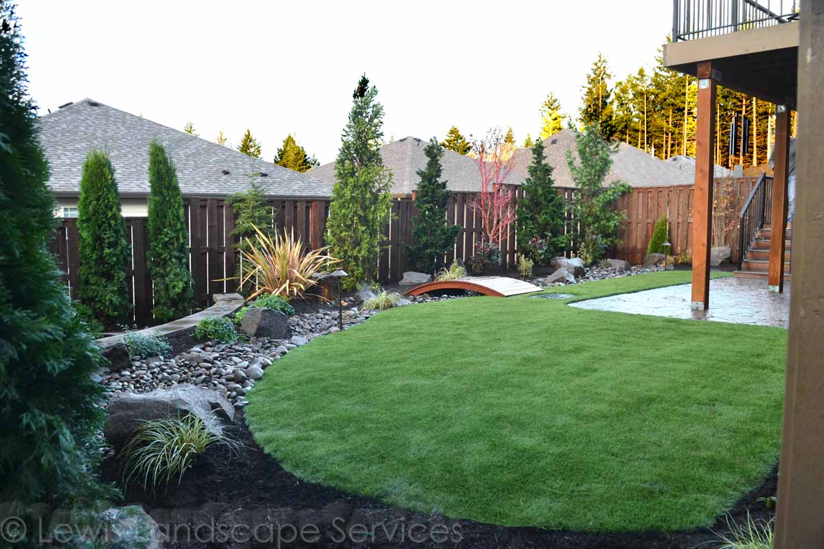 Synthetic Turf, Dry Streambed, Planting, Lighting