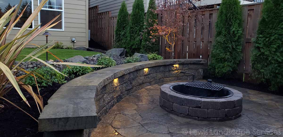 Lower Paver Patio, Seat Wall, Fire Pit